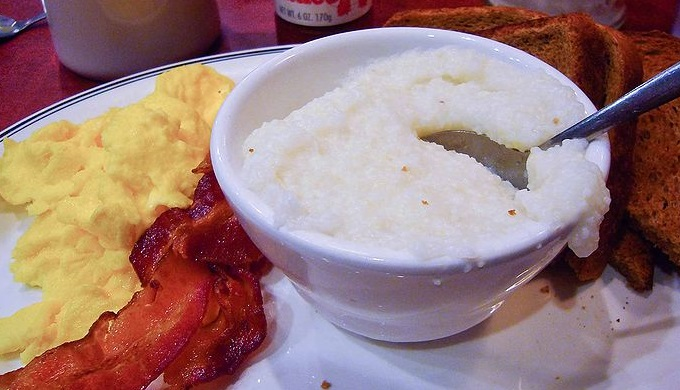 Hill Country Cooking A Southern Breakfast with Grits, Bacon, Eggs, and Toast