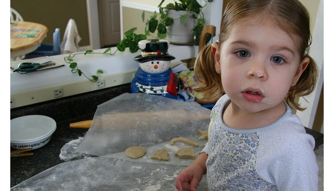 Holiday baking can be done with preschool children