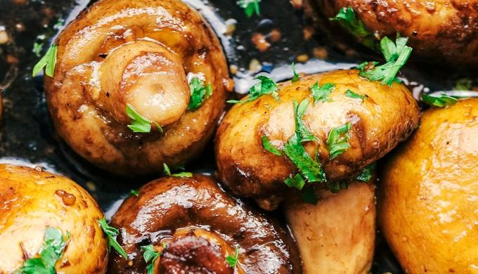 Honey Recipes Honey Balsamic Garlic Mushrooms