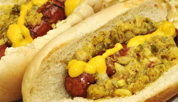 Hot dogs with mustard and relish