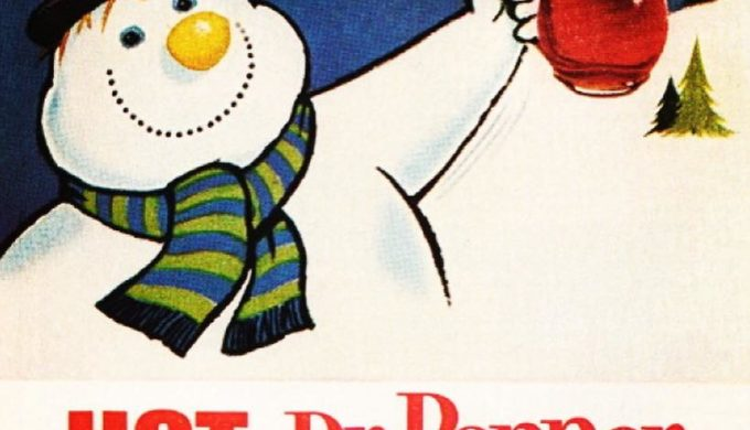 Hot Dr Pepper Retro Ad with a Snowman
