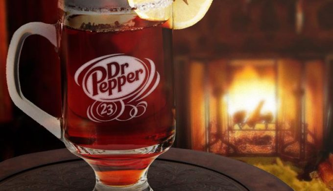 Hot Dr Pepper in a Glass by the Fire