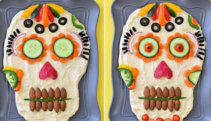 Hummus dip for Day of the Dead