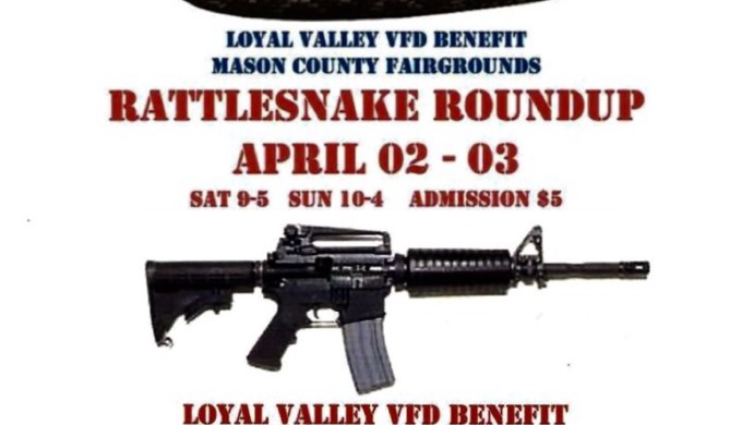 Flyer for Mason County Rattlesnake Roundup and Gun Show