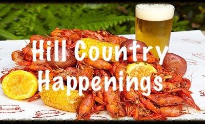 Hill Country Happenings header with crawfish boil and beer in background
