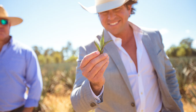 Jon Wolfe aka Juan Lobo presenting the agave seedling from a farm in Mexico