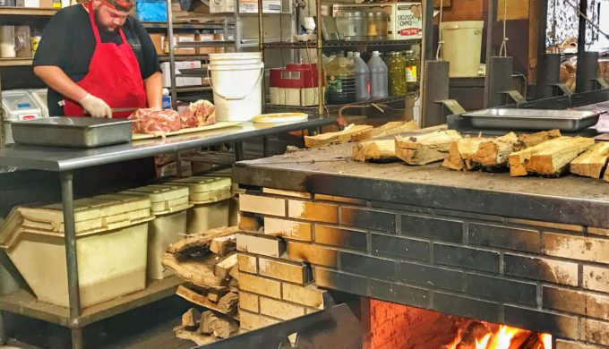 Meat prep at Louie Mueller Barbecue
