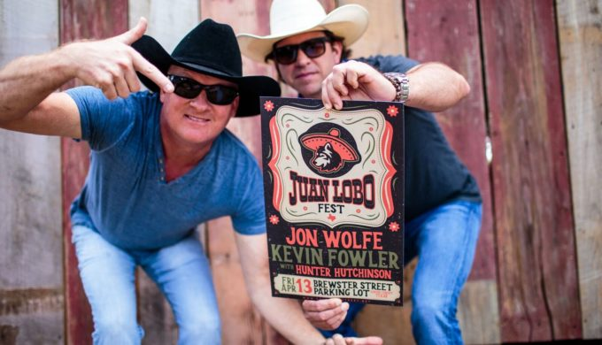 Jon Wolfe aka Juan Lobo and Kevin Fowler promoting the first ever Juan Lobo Fest in Corpus Christi Texas
