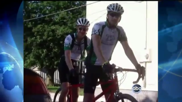 Dr. Alberts on a tandem bike he rode with a friend who suffers from Parkinson's Disease