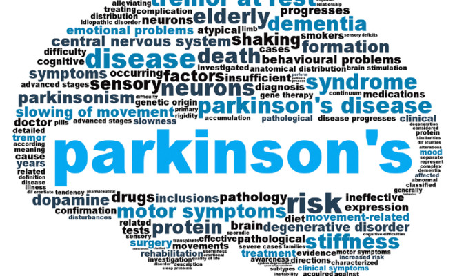 Clip art of brain with Parkinson's centered and surrounded by related words to the disease
