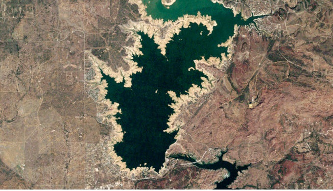 Lake Buchanan viewed from above. Below these waters is the remains of a salt works.