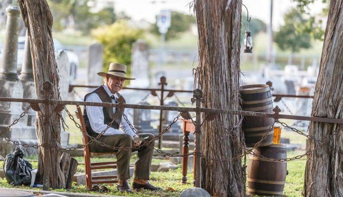 Man in cemetery