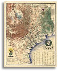 Historical, Texas, Map, Wild West