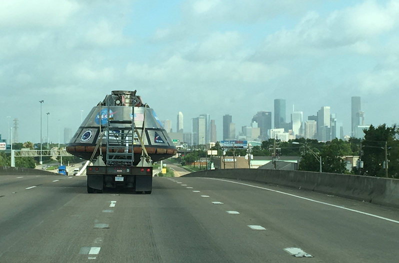 Traveling Spacecraft Spotted on Houston Highway
