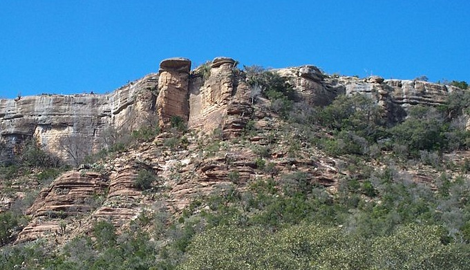 Packsaddle Mountain Cliff side in Llano County