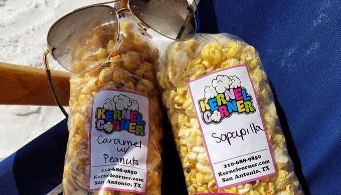 Popcorn bars in San Antonio include Kernel Corner which sells sopapilla flavored corn
