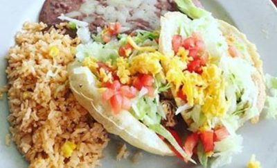 Puffy tacos from Rosario's Mexican Cafe y Cantina