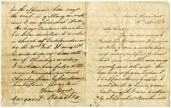 Sam Houston and Margaret Lea letter