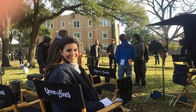 Sandy on Set