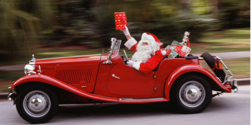 Santa In Car Texas Hill Country