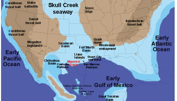 Seas and oceans in North America around 101 million years ago.