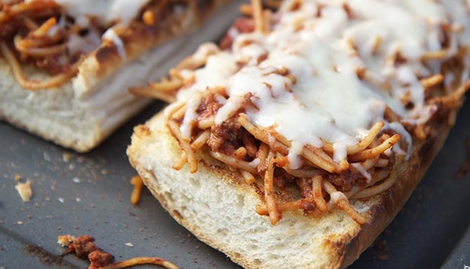 Spaghetti Boats - French Bread Topped with Spaghetti and Cheese