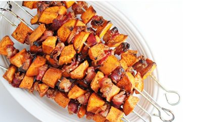 BBQ Sides Spiced Sweet Potato Bacon Skewers from Home Cooking Memories