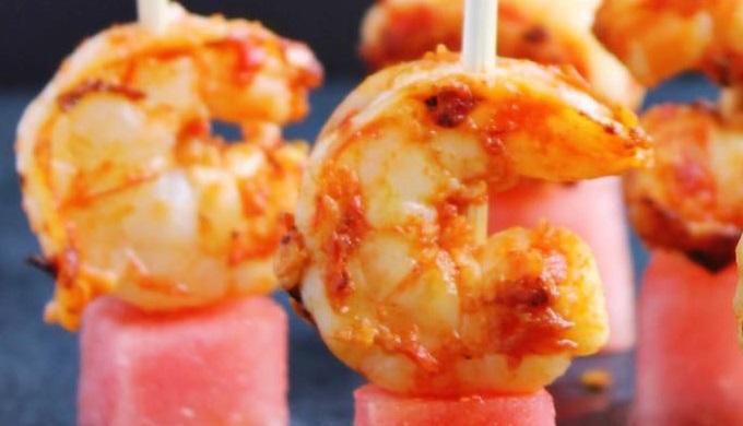 Spicy Harissa Shrimp and Watermelon Bites