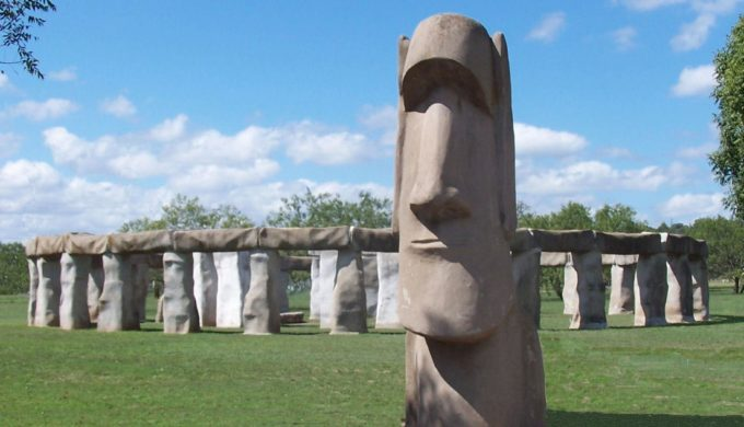 Stonehenge II with Easter Island Statue in Front
