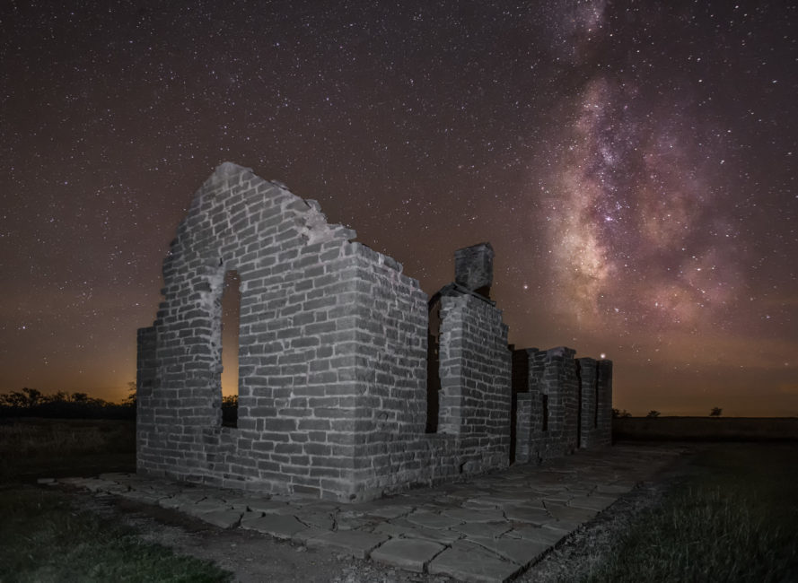 The Milky Way behind ruins at Fort Griffin in Albany, Texas.