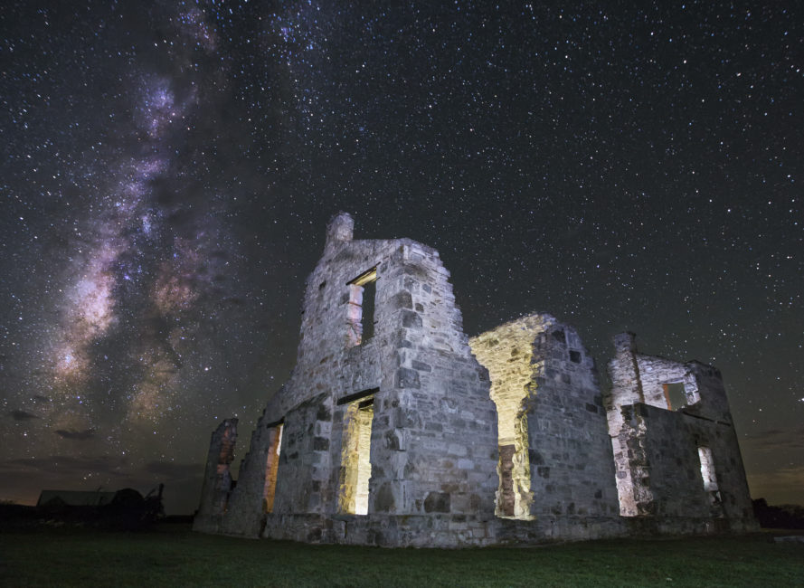 The Milky Way over Fort McKavett in Menard, Texas.