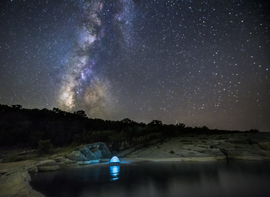 The Milky Way setting at Pedernales Falls State Park.