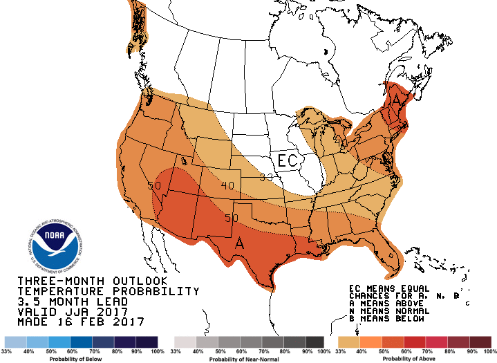 Three month temperature forecast from NOAA.