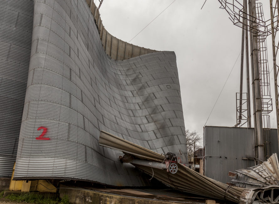 Grain silo collapse from tornado in Thorndale.