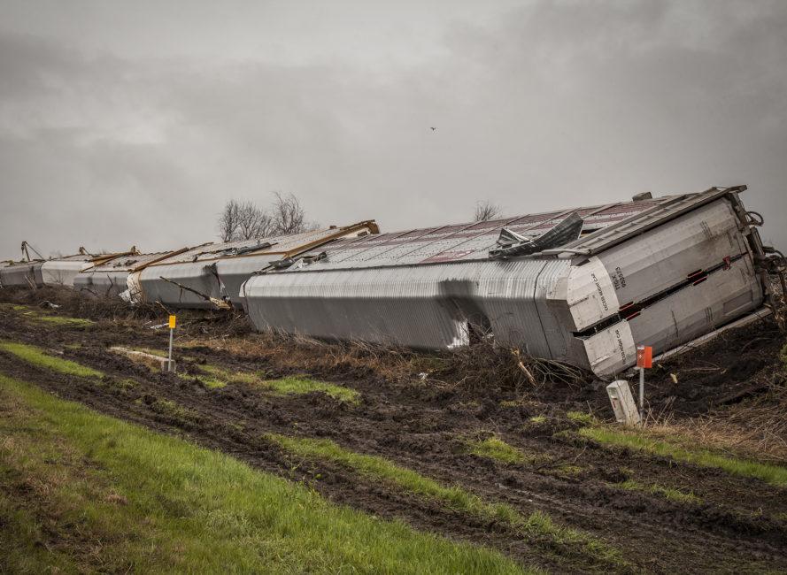 Tornado damage in Thrall, Texas.