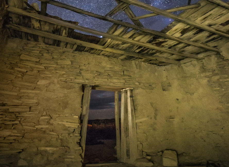 View of the stars from inside ruins of miner's home in Terlingua, Tx.