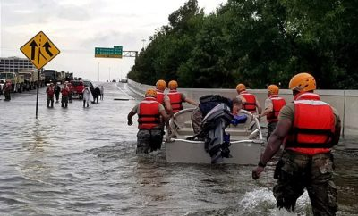 Texas Army National Guard on rescue missions in southwest Houston along Loop 610.