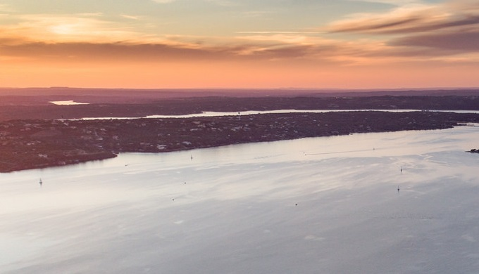 Texas Hill Country pictures sunset over Lake Travis
