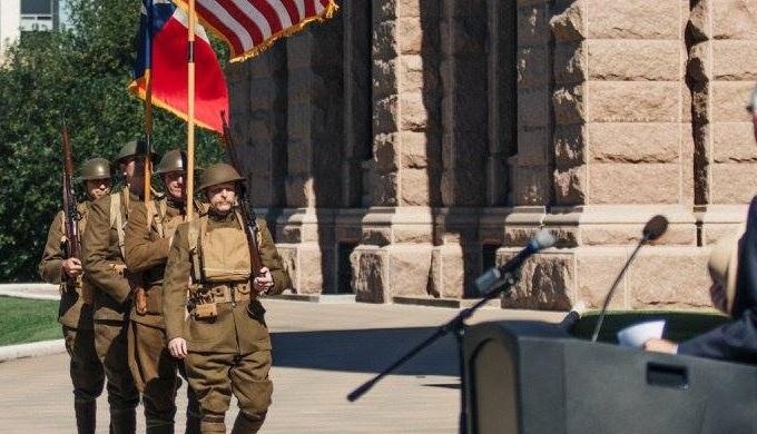 Texas Historical Commission Color Guard from Camp Mabry for the WWI Centennial at the capitol