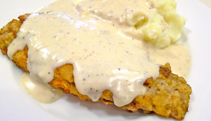 Chicken-Fried Steak And Cream Gravy Recipe — Dishmaps
