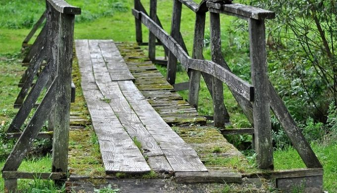 Texas bridges from the early years were often simple wooden spans like this bridge in Poland