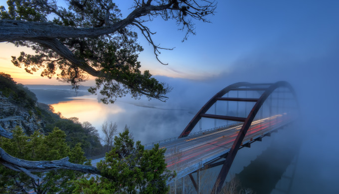 Pennybacker Bridge in Morning Fog