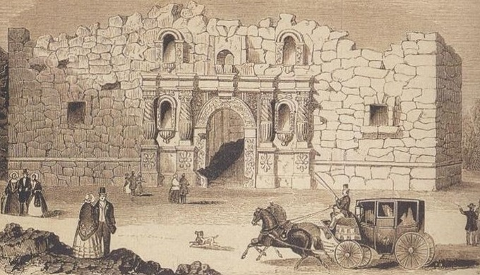 The Alamo in 1854 in a state of disrepair