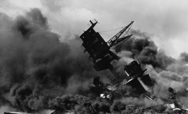 Pearl Harbor The_USS_Arizona_BB-39_burning_after_the_Japanese_attack