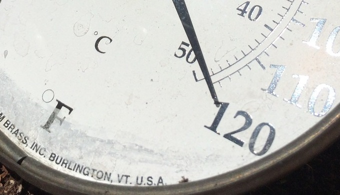 Thermometer showing 120 degree F temperature