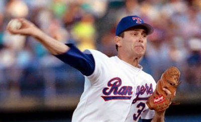 Nolan Ryan Pitches for the Rangers