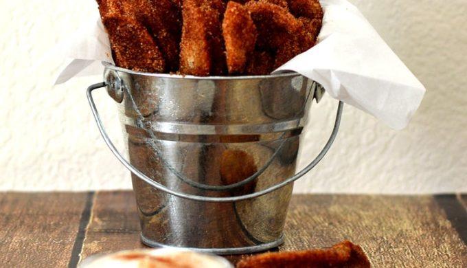 Vegan Apple Fries with Vanilla Whipped Cream