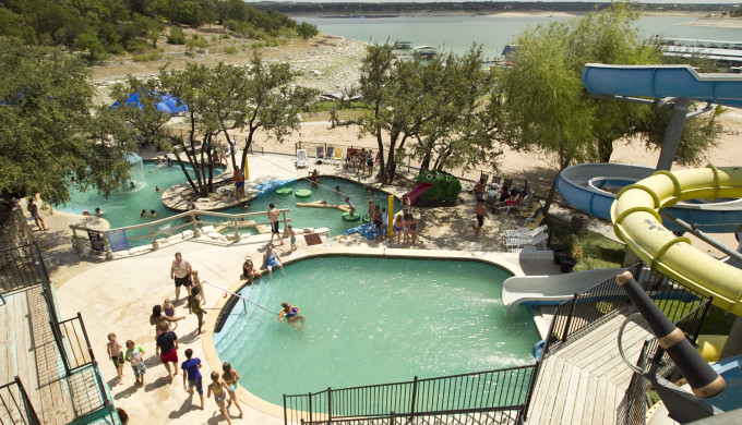 7/20/2011 - Jay Janner/AMERICAN-STATESMAN - People have fun in the water park area of Shore Club Volente Beach on Wednesday July 20, 2011.