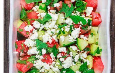 Watermelon Recipes: Watermelon, Feta, and Cucumbers Salad