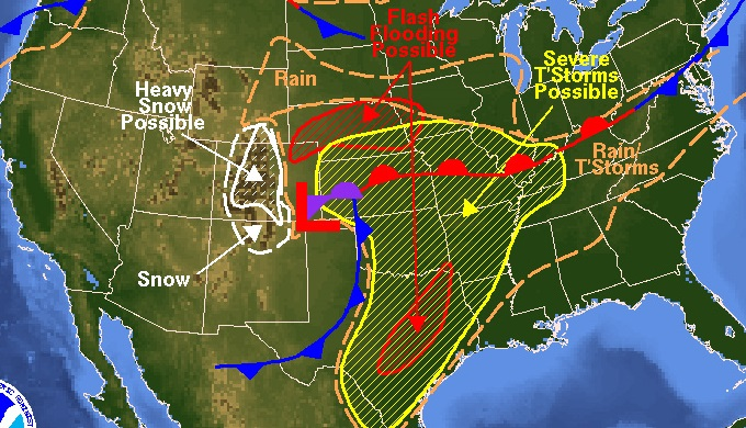 Map Of Texas Weather.Weather Map Noaa Showing Weather Conditions In 2007 Texas Hill Country